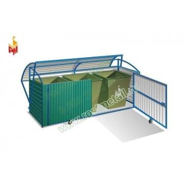 Контейнерная площадка для мусора с опрокидывающимся верхом на 3 контейнера