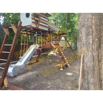 Игровой комплекс Хижина Аквитания с рукоходом и мансардой
