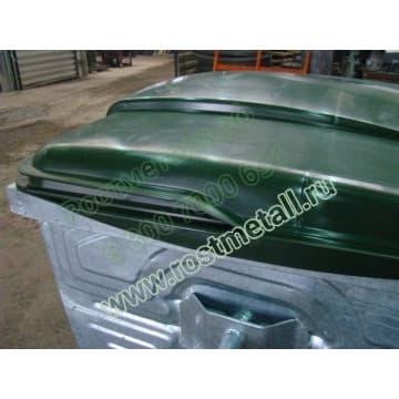 Евроконтейнер оцинкованный для мусора объемом 1,1м3 с пластиковой  крышкой
