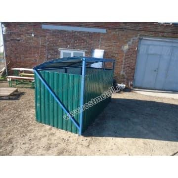 Контейнерная площадка для мусора с опрокидывающимся верхом на 2 контейнера
