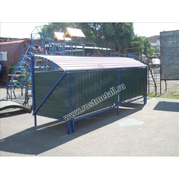 Контейнерная площадка для мусора с опрокидывающимся верхом на 4 контейнера
