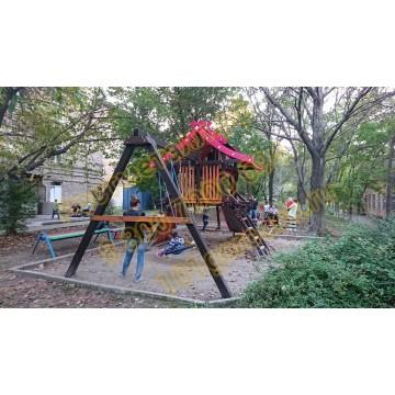 Детский игровой комплекс Хижина Корсика  с рукоходом  и мансардой
